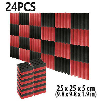 """24pcs Black & Red Wedge Sound Proofing Absorption Acoustic Foam Pad 9.8*9.8*2"""""""