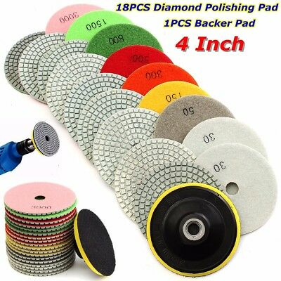 "19PC 4"" 30-3000 Grit Diamond Polishing Pad Grinding Disc Wet/Dry Granite Marble"
