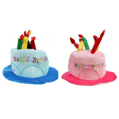 2pcs Adult Kid Happy Birthday Hat Cake With Mock Candles Blue Pink