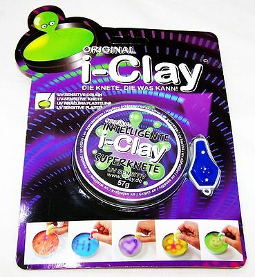 i-Clay Intelligente Knete UV-Sensitiv + UV-Lampe grün Superknete Magie OVP Neu