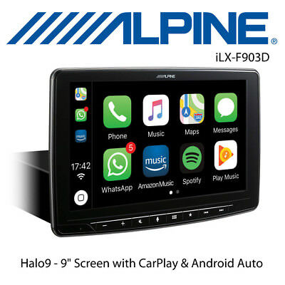 "Alpine iLX-F903D Halo9 - Single Din 9"" Screen DAB with CarPlay & Android Auto"