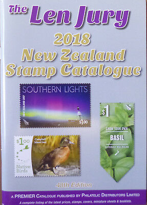 LEN JURY 2018 NEW ZEALAND STAMP CATALOGUE 1855 - 2018 COLOUR 48th EDITION *NEW**