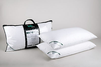 Pair of Luxury Super King Pillows Premium Hungarian White Goose Down and Feather