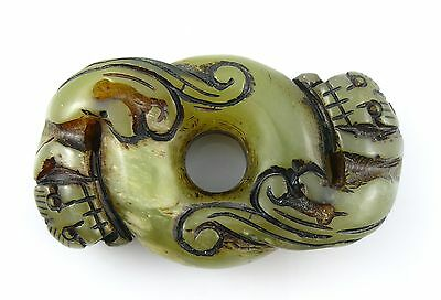 BIG Antique Vintage CHINA Chinese Hand Carved Jade TWIN DRAGONS Design TOGGLE