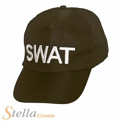Adult SWAT Baseball Cap Hat FBI Police Team Cop Fancy Dress Accessory