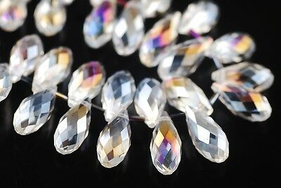 5pcs 20x10mm Teardrop Faceted Crystal Glass Loose Beads Pendants Clear White AB