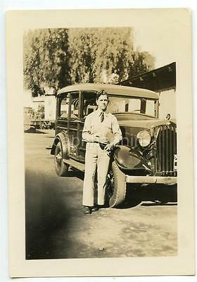 "US Army Soldier Driver and ""Recon Car"" Vintage 1940 Photo"