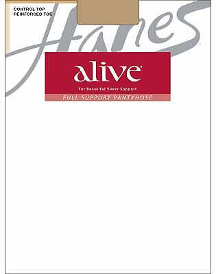 Hanes Pantyhose Alive Full Support Control Top Reinforced Toe 3-Pack Sheer Waist