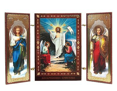 Easter Triptych Resurrection Of Christ Icon With Archangel Michael and Gabriel