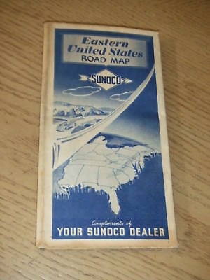 VINTAGE 1941 Sunoco Oil Gas Eastern United States Highway Road Map Lowell Thomas
