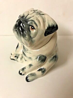 Kevin Francis  Face Pot Brindle Black Pug. Gold stamp. Very rare. 50 made