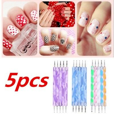 5x Nail Art Dotting Pens False Fake Nails Painting Polish 2 Way Tool