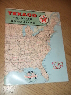 1959 Texaco 49 State Road Atlas Rand McNally Plus Canada Hawaii STAMP Quakertown