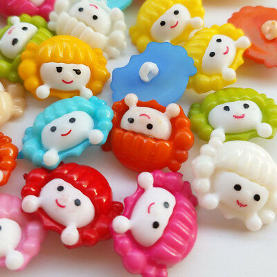10/50/100pcs 20mm Plastic Girl Print Craft Doll Sewing Button Buttons