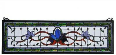 10 x 33 in Floral Stained Glass Window Panel Transom Decor Home Room Display Art