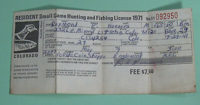 1971 Colorado Game & Fish Dept Small Game Hunting License Tag...Free Shipping!