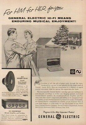 1956 General Electric Hi-Fi Stereo GE Speaker Amp Ad