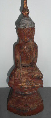 Fine Rare Antique Gilded and Painted Wood Burmese Shan Buddha Statue