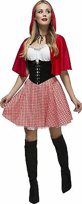 Womens Red Riding Hood Costume Fairytale Adult Fancy Dress Outfit