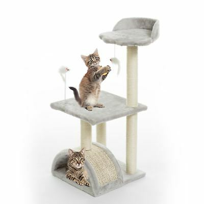 Silver Grey Cat Tree Scratching Climbing Post Activity Pet Play Toy Set 2005230