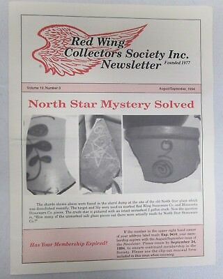 Red Wing Collectors Newsletter August September 1994 North Star Mystery Solved