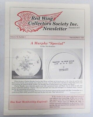 Red Wing Collectors Newsletter February March 1995 Murphy Special Pottery USA