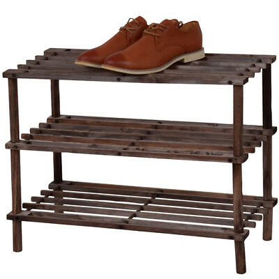 3 Tier Wooden Shoe Rack Dark Oak Footwear Storage Organiser Unit Shelf Dvd Books