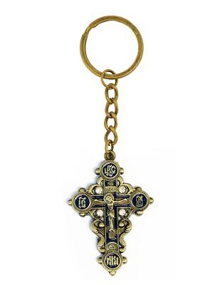 Ic Xc  Crucifixion of Christ Religious Gift Key Chain With Crystals 4 1/2 Inch