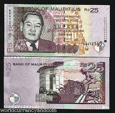 Mauritius 25 Rupees P49 2009 Workers Ah Chuen Unc Currency Money Bill Bank Note