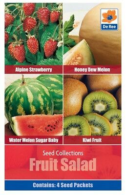 Fruit Salad Seeds - 4 in 1 Pack contains Alpine Strawberry, Honeydew Melon, Wate