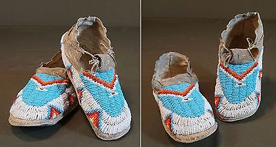 Fine Native American Early 1900 Plateau Child Beaded Moccasins