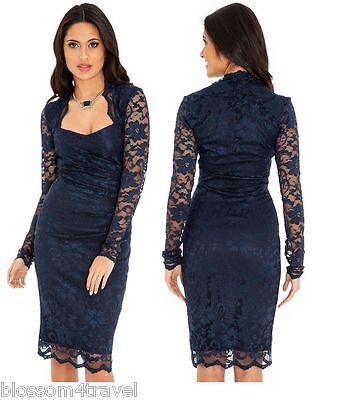 Goddess Navy Scalloped Lace Fitted Wiggle Pencil Cocktail Party Evening Dress