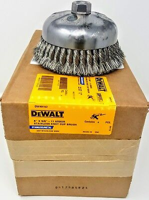 "DEWALT DW49162 6"" x 5/8""-11 Knotted Stainless Steel Wire Cup Brush *USA*"