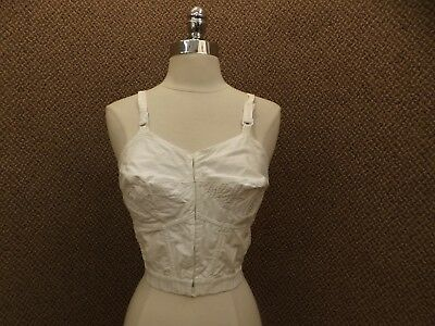 PinUp Vtg 50s NEW Circle Stitch Pointy Cup Front Closing Boned Long Line Bra 34C