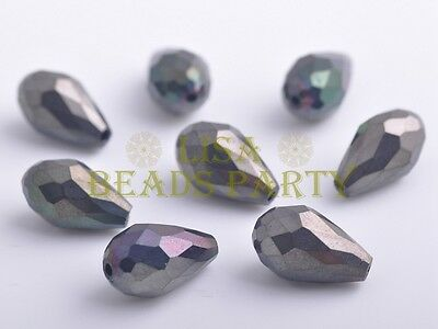 10pcs 15X10mm Teardrop Faceted Crystal Glass Loose Spacer Beads Gun Black