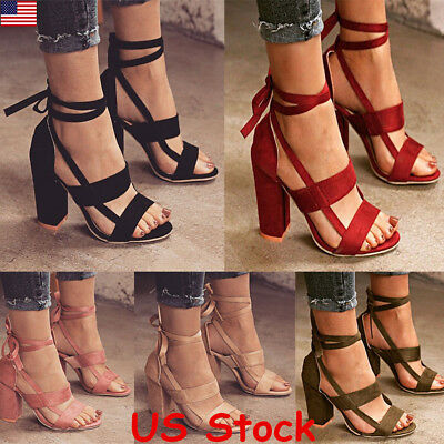 Roman High Block Heels Sandals Womens Lace Up Leather Hot Party Casual Shoes USA