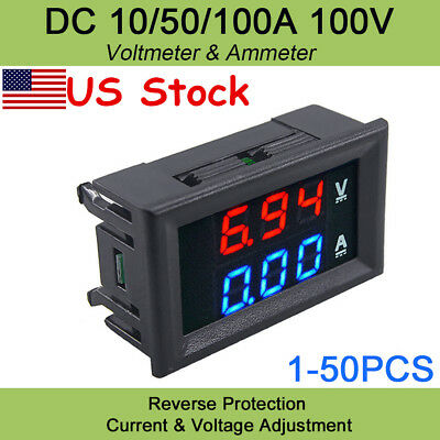 DC 100V10A Voltmeter Ammeter Blue & Red LED Amp Dual Digital Volt Meter Gauge US