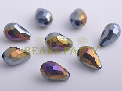 10pcs 15X10mm Teardrop Faceted Crystal Glass Loose Spacer Beads Black AB