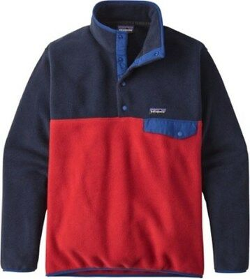 NEW Patagonia Men's Synchilla Snap T Pullover - Red/Navy - Size:L