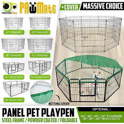 8 Panel Pet Playpen w Cover Portable Cage Fence Enclosure Dog 24 30 32 36 40 42""