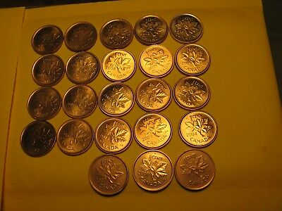 Set Of 23 Canada BU Pennies Most Varieties Included 2000 To 2012 Nice Mint Set.