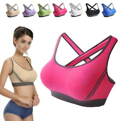 Women Yoga Fitness Stretch Workout Top Seamless Racerback Padded Sports Bra