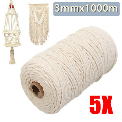 5x 200M Natural Twisted Cord Rope Beige Cotton Art Craft Macrame Artisan String