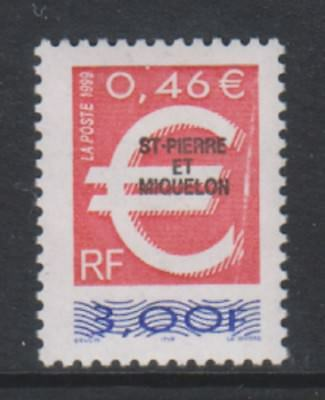 St Pierre & Miquelon - 1999, 3f Red & Blue Optd stamp  - MNH - SG 809