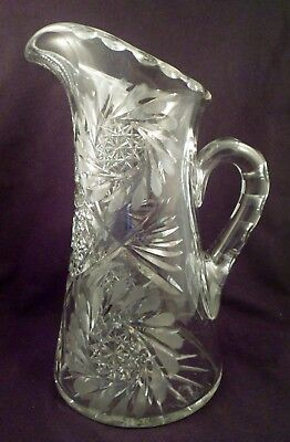 American Brilliant Period Large Cut Crystal Pitcher, Over 5 Lbs