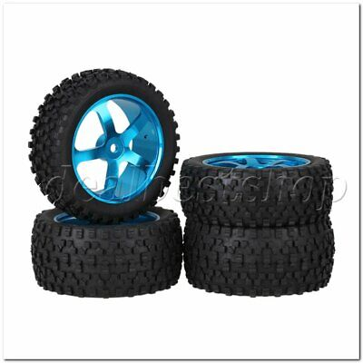 4pcs RC1:10 Blue Alloy 5 Spoke Wheel Rims H Type Rubber Tyres for Buggy Upgrade