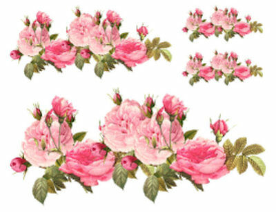 Vintage Image Shabby Cabbage Pink Roses Transfers Waterslide Decals FL163