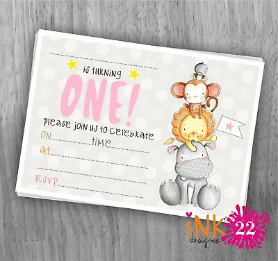 Cute personalised Jungle Animals 1st 3rd birthday Invitations pack  x 10 2nd