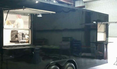 Concession Windows-Two 36x36 Vertical Sliding Glass, Awning w/ Gas Shocks, Black