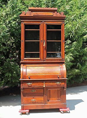 Regal Victorian Walnut & Burl Cylinder Roll Secretary Desk w Gallery & key c1875